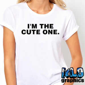 Details About IM THE CUTE ONE T Shirt Funny Twin Humor Brother Sister Perfect Birthday Gift