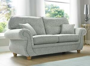 Details About Claremont 3 Seater Fabric Sofa Settee Vulcan Chalk Pattern