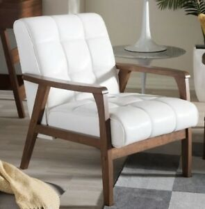 Details about Mid-Century White Leather Club Chair Accent Arm Chairs  Armchairs Living Room NEW