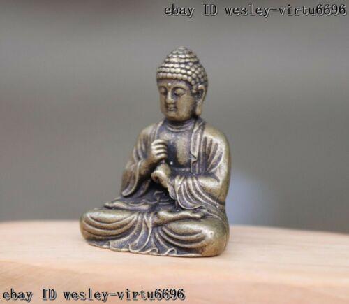 China Buddism Copper Bronze Shakyamuni Sakyamuni Amitabha Buddha Statue T060