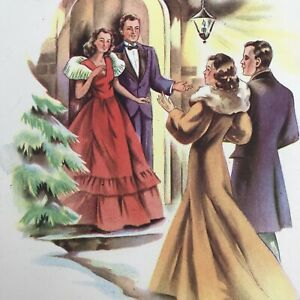 Vintage-Early-Mid-Century-Christmas-Greeting-Card-Couples-Ladies-Pretty-Dresses