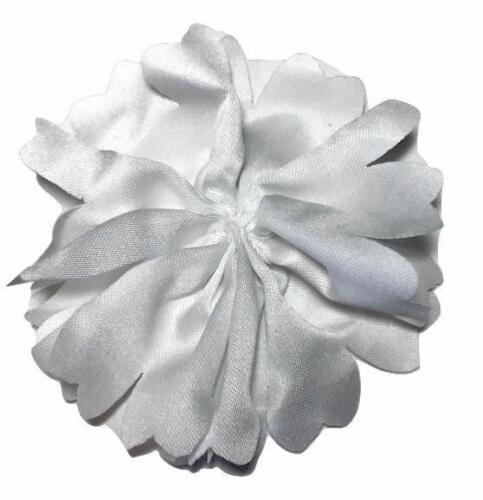 "3 pcs White 2.5/"" satin scalloped ballerina flowers DIY headband"