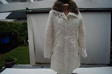 ESPRIT Damen Jacke Steppjacke Winterjacke Mantel Parka Fell Kragen Gr.S creme #r