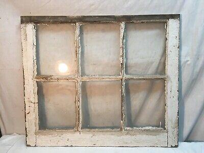 Vtg 6 Pane Wooden Window Sash Farm Glass 75 X 95 Primitive Frame 24 X 285in Ebay