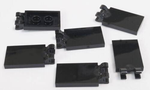 6 x Fliese 2x3 mit 2 Clips schwarz LEGO Klappe // 30350 NEUWARE Fahne