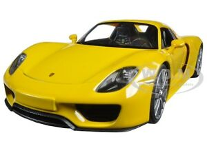 porsche 918 spyder yellow closed roof 1 24 diecast car model by welly 24055 ebay. Black Bedroom Furniture Sets. Home Design Ideas