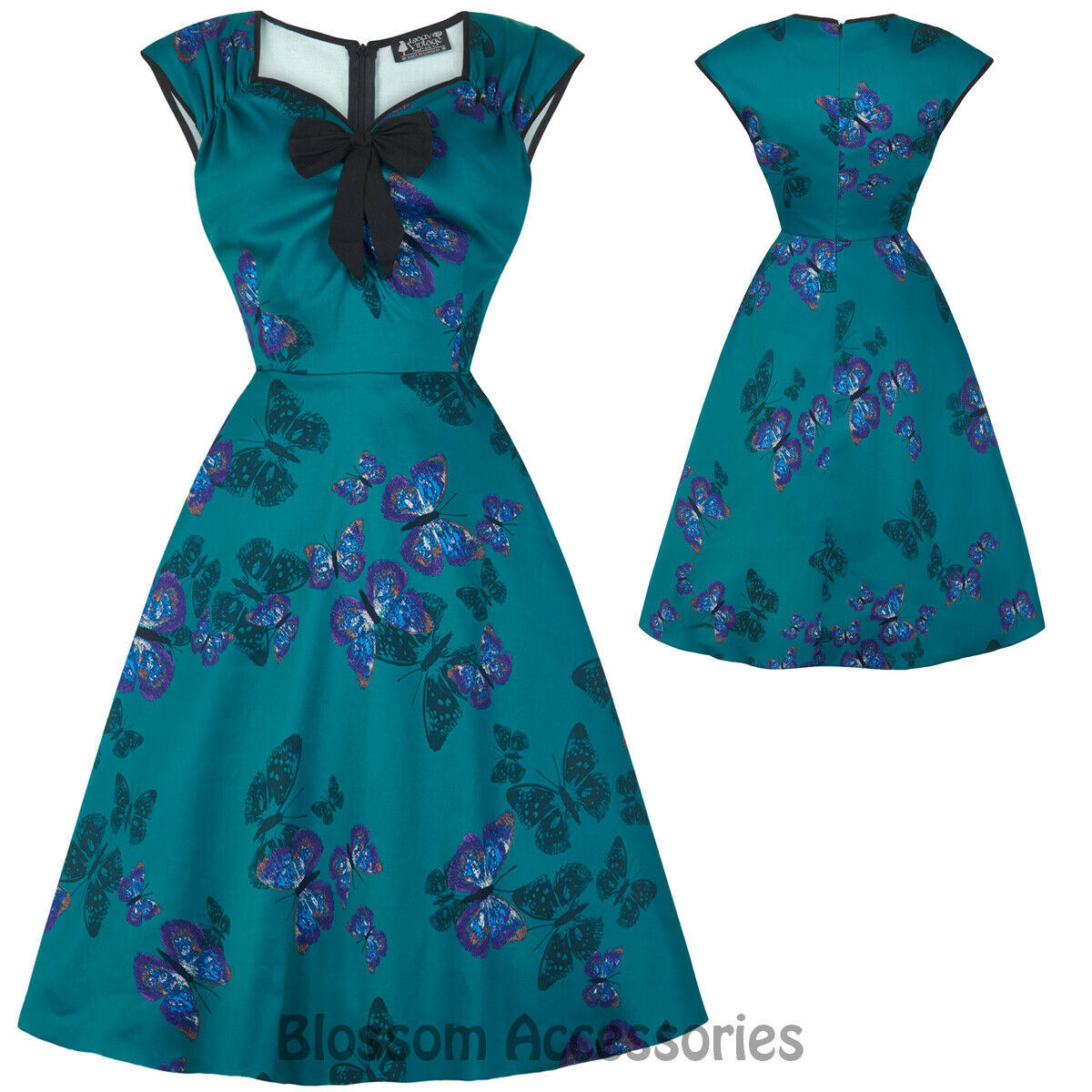 RKL34 Lady Vintage Isabella Teal Butterfly 50 Swing Retro Rockabilly Party Dress