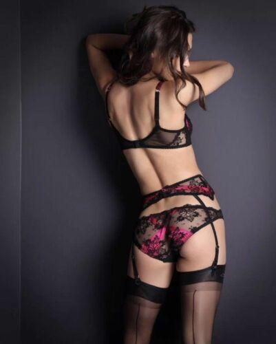 BNWT Agent Provocateur MADDY Fuchsia  lace silk Suspender Belt AP4 10-12 40 US 8