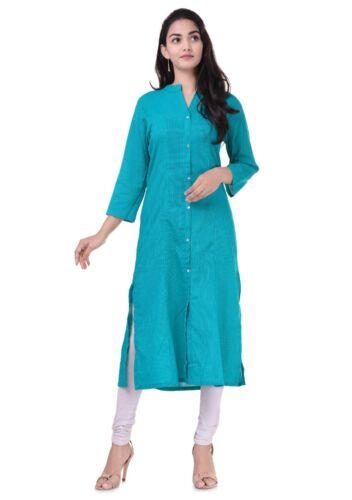 Indian Pakistani Women ALine Solid Kantha Cotton Ethnic Kurta Kurti Top Tunic