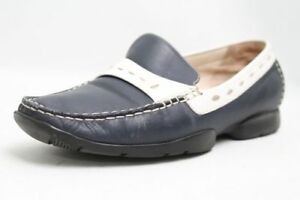 Verhulst-Schuhe-blau-weiss-echt-Leder-Slipper-Mokassin-Schuhweite-G-Gr-38-UK-5