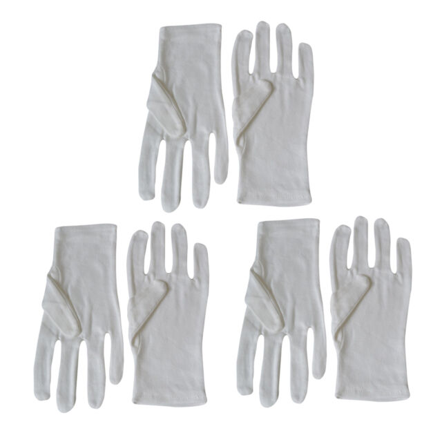 3 Pairs 100% Cotton Gloves for Handling and Cleaning of Vinyl Records, CD Discs