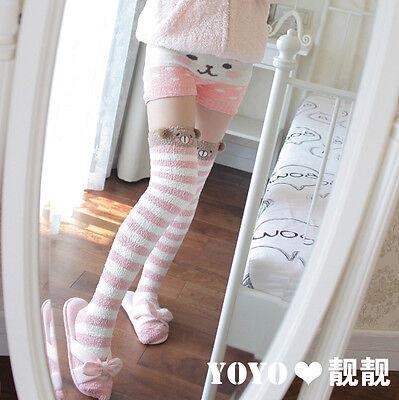 Cute Bear Sheep 3D Ears Pink&White Stripe Over-knee Stocking Sock Thigh-high