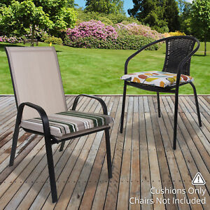 2pk Chair Cushion Seat Pad Outdoor Tie On Garden Patio Furniture