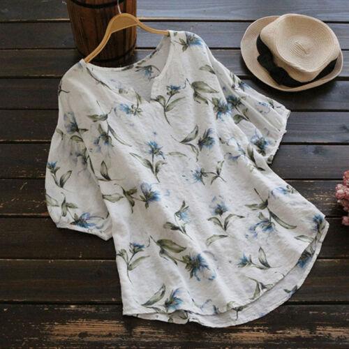 UK Women/'s Plus Size Cotton Tunic Tops Blouse T Shirt Printed Boho Tee Shirts