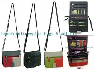 Fine Genuine Leather Lady Organiser Shoulder Bag Black Orange...+ RFID Protected