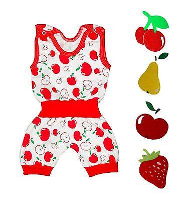 NEW Baby Girl Retro Cotton Romper Cherry Strawberry Apple Pear EU Made