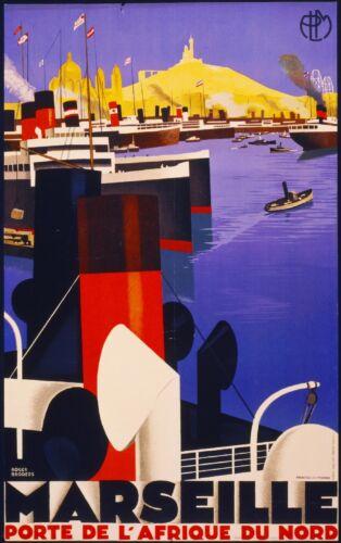 Marseille Afrique Cruise France French European Travel Art Poster Advertisement
