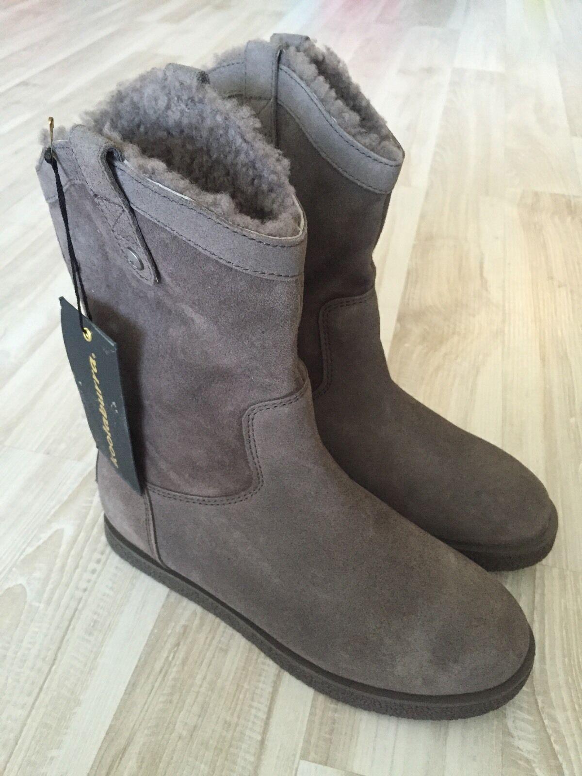 NWT NWT NWT Koolaburra Josie Grey Crepe Flat Twinface Boot size 10  286 53f3d6