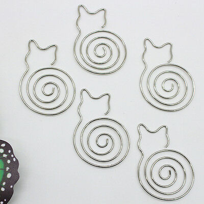 5Pcs Metal Cat Bookmarks Wire Art Paperclip School Office Stationery Kids Gift
