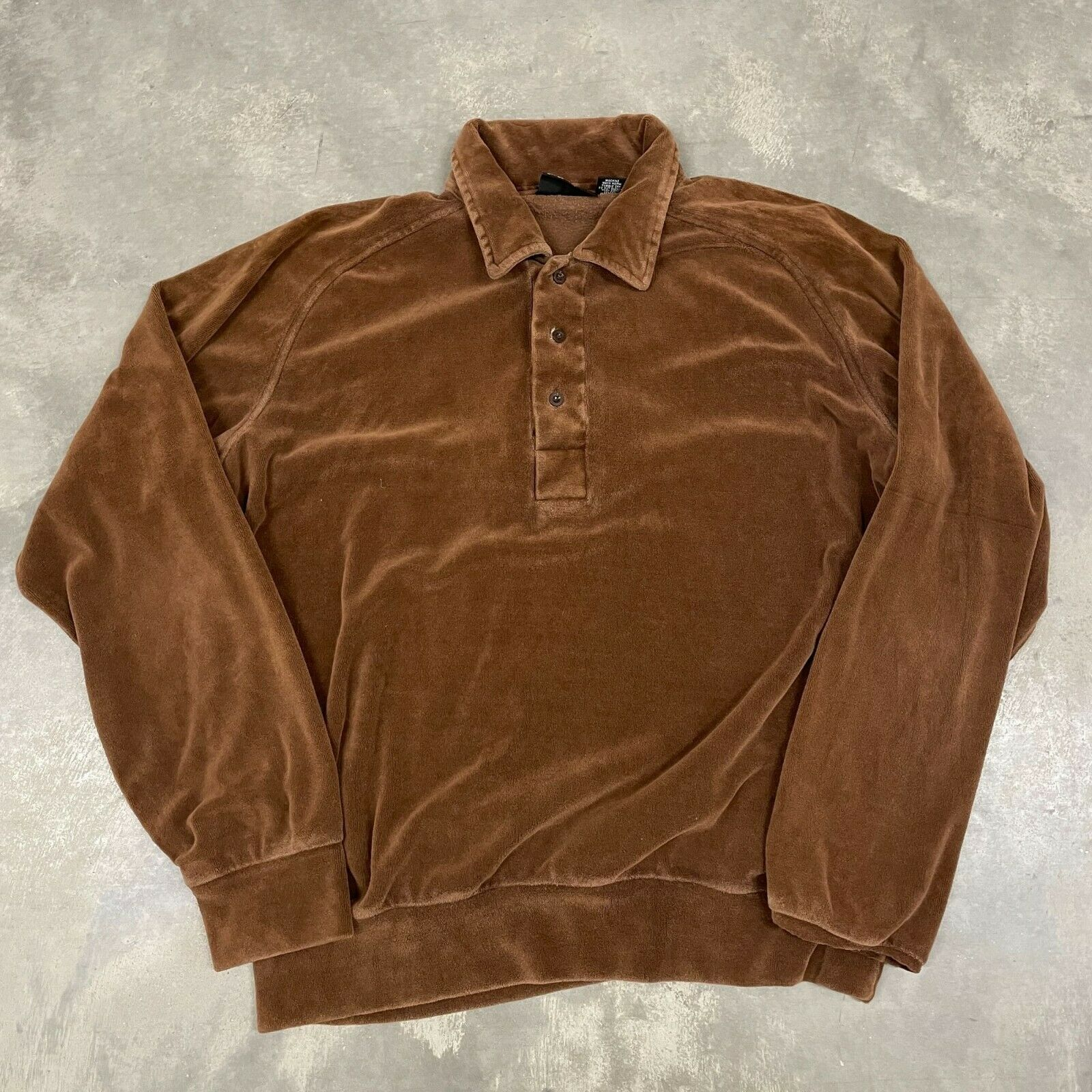 70s VTG Brown Velour Polo Pullover Sweater Cool X… - image 1