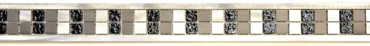 Bordure translucide aluminium verre cristal Silber schwarz Bor-OBA-0202_f  10pièces