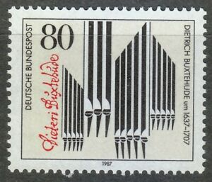 Germany-1987-MNH-Mi-1323-Sc-1507-Dietrich-Buxtehude-composer-Organ-Pipes