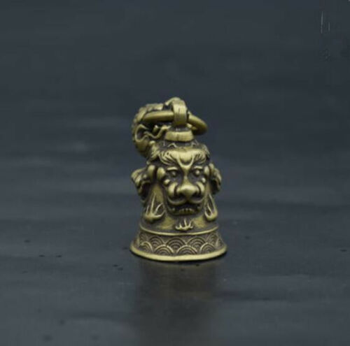 China Pure brass Carving Lion head Small bell Pendant