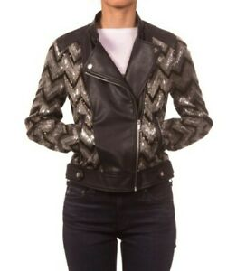 Nanette Lepore womens Vegan Leather Biker Jacket With Sequins