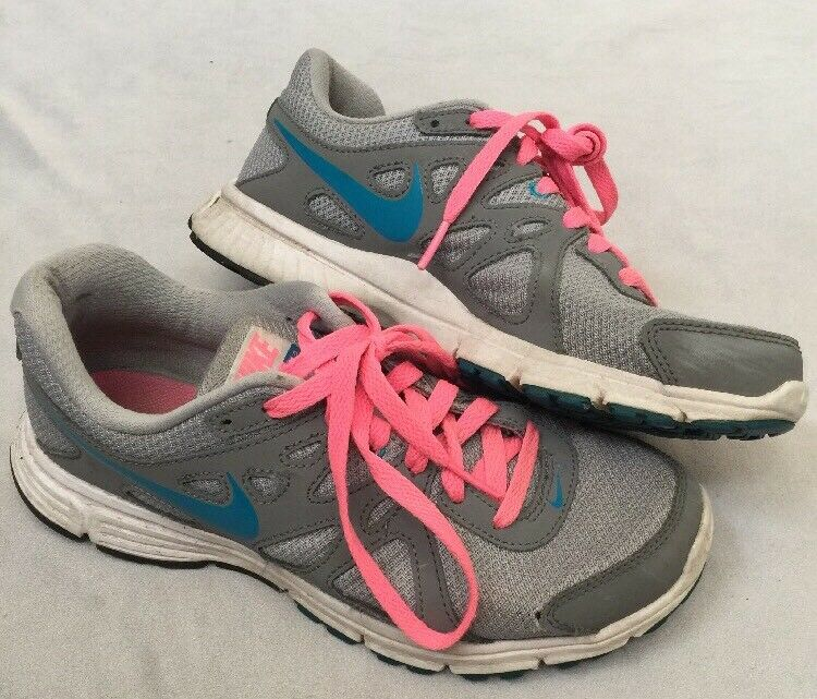 NIKE REVOLUTION 2 WOLF GRAY/NEON TURQUOISE BLUE/PINK RUNNING US WOMEN SIZE 8 Brand discount