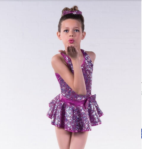 In Stock Dazzle Pink Sequin Two Piece Jazz Modern Tap Dress Dance Costume