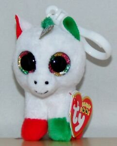 New! 2018 Holiday Ty Beanie Boos CANDY CANE the Unicorn Key Clip ... a96bb1aeba3e