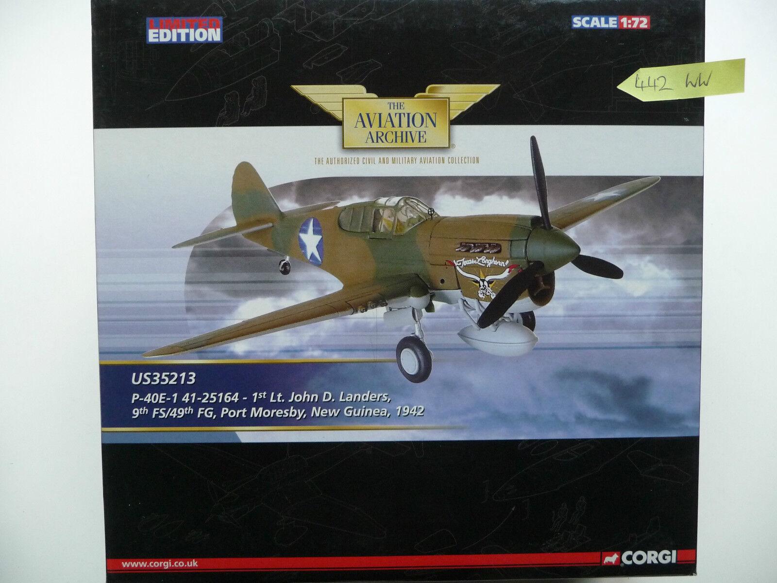 Corgi Aviation US35213 P-40E-1 41-25164 Lt. John D Landers, 9th FS 49th FG. MIB.