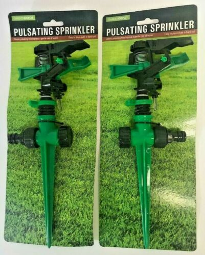 Adjust Angle /& Distance 2-PACK of Pulsating Stake Yard Lawn Watering Sprinklers
