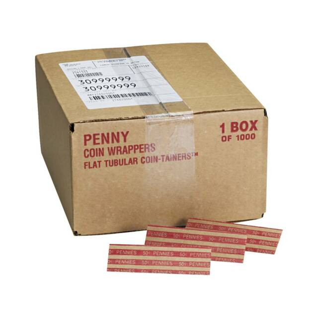 Pennies 1000 Wrappers//Box Preformed Tubular Coin Wrappers $.50