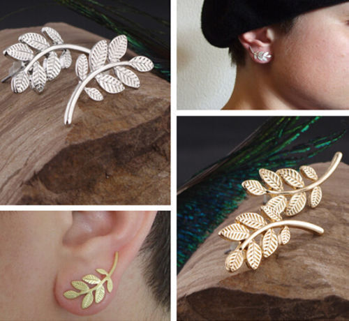 Hot Unisex Vintage Retro Symmetry Leaf Ear Cuff Stud Earrings 2 Colors Choose