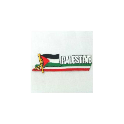 PALESTINE SIDEKICK WORD COUNTRY FLAG IRON-ON PATCH CREST BADGE 1.5 X 4.5 IN.
