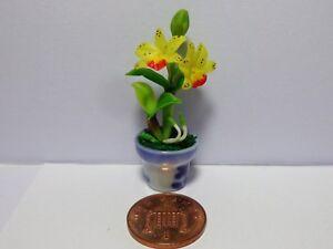1:12th Jaune Orchidée Fleurs Dans Un Pot De Maison De Poupées Miniatures Fleurs-afficher Le Titre D'origine