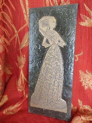 "Lady Margaret Renaissance Brass Rubbing Plaque Medival Art 17 3/16"" x 7 3/16"""