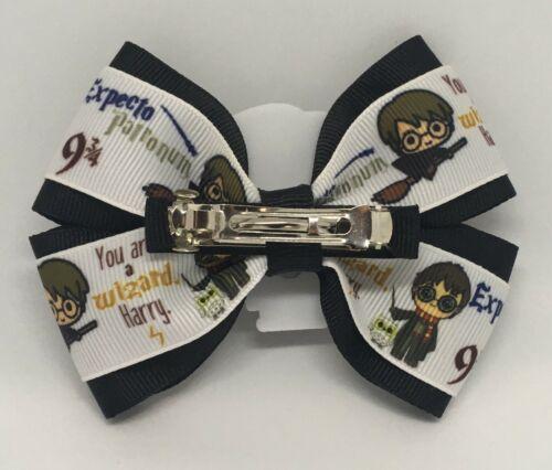 "Girls Hair Bow 4/"" Wide Harry Potter Black Ribbon Barrette Clip or Ponytail"