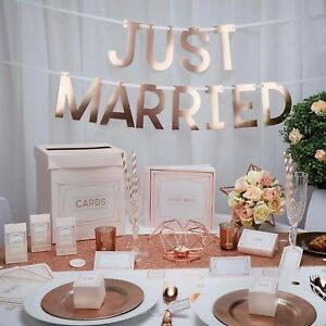 Geo Blush Rose Gold Pink Wedding Table Accessories Party Decoration