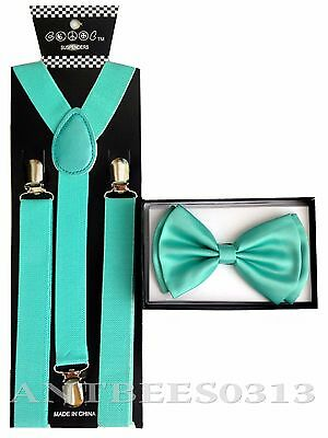 Mint Color Combo Suspender and Bow tie Combo Unisex Adjustable Set
