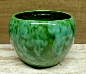 Antique-Arts-amp-Crafts-Pottery-Vase-Planter-Old-Thick-Blue-Green-Drip-Glaze