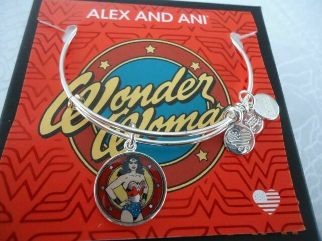 Alex and Ani Womens Wonder Woman Logo Bangle Two-Tone