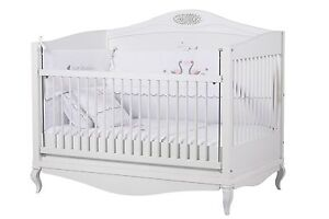 Babybett-Weiss-Gitterbett-Kinderbett-Matratze-Baby-Bett-Prinzessin-Yasmin