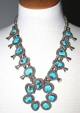 VTG NAVAJO Sterling Silver MORENCI Turquoise SQUASH BLOSSOM Bench Bead Necklace