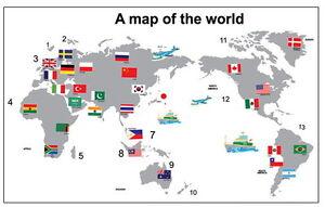 Wandtattoo Weltkarte Kontinente Welt Flaggen Tattoo Fahnen Sticker