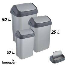 Cubo basura tapa basculante gris distintos tamaños para cocina baño jardin 25...
