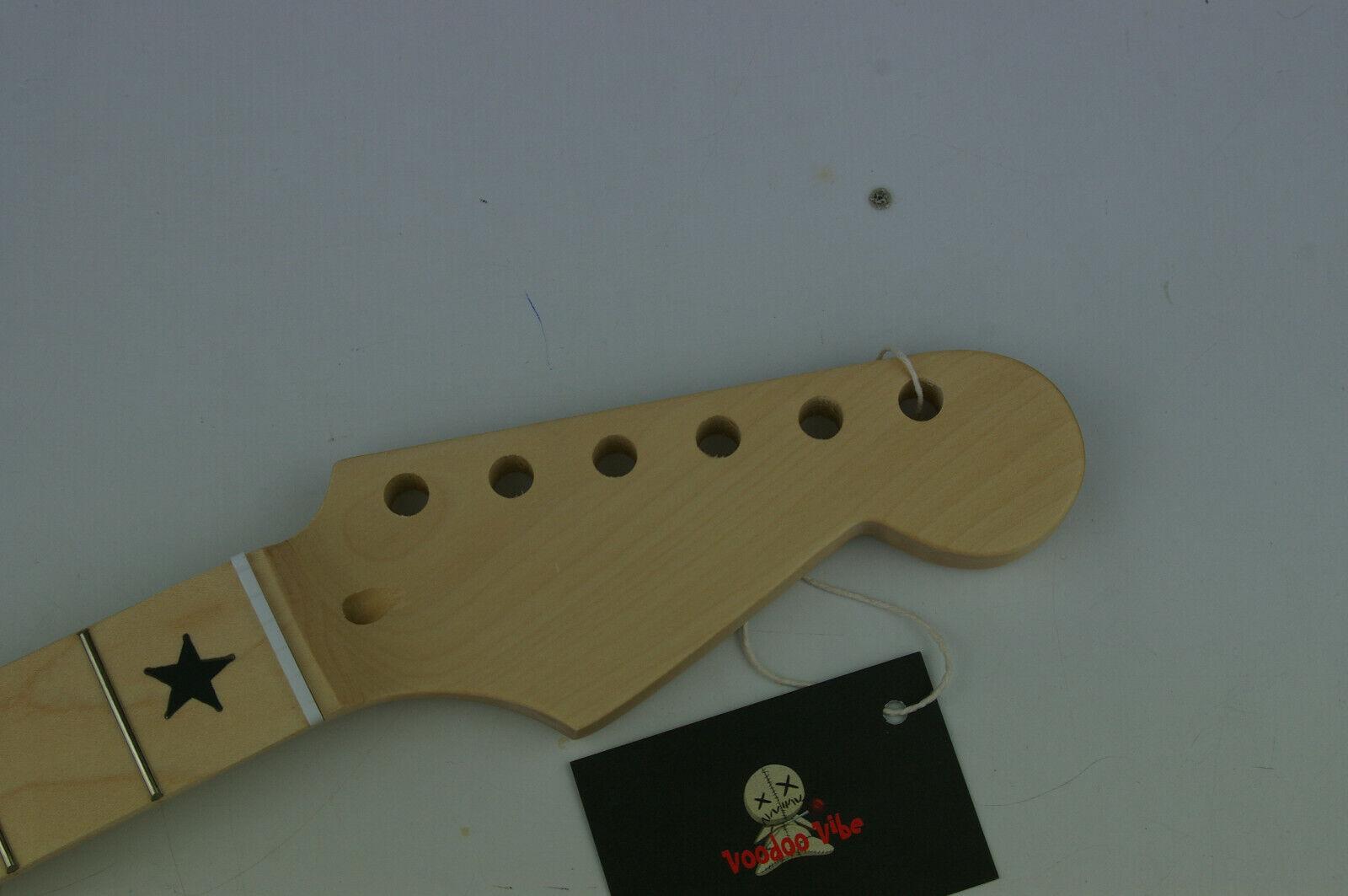 Voodoo Vibe Stratocaster Strat Guitarra Cuello de arce arce arce con incrustaciones de Estrella Negro n207  entrega de rayos