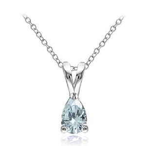 925-Sterling-Silver-Aquamarine-6x4mm-Teardrop-Solitaire-Necklace