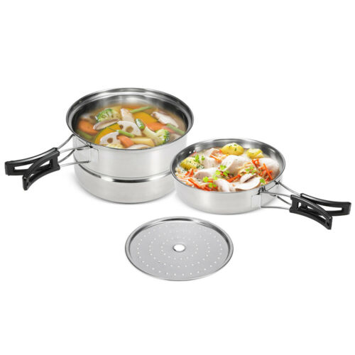 3Pcs Camping Cookware Set Stainless Steel Pot Frying Pan Steaming Rack V3H0